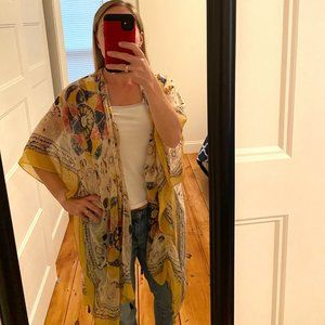 Woven Heart Scarf Kimono with Tassels Yellow Blue Red Lightweight One Size